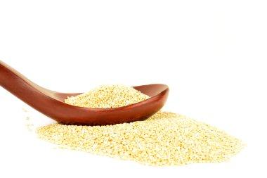 uncooked quinoa white background