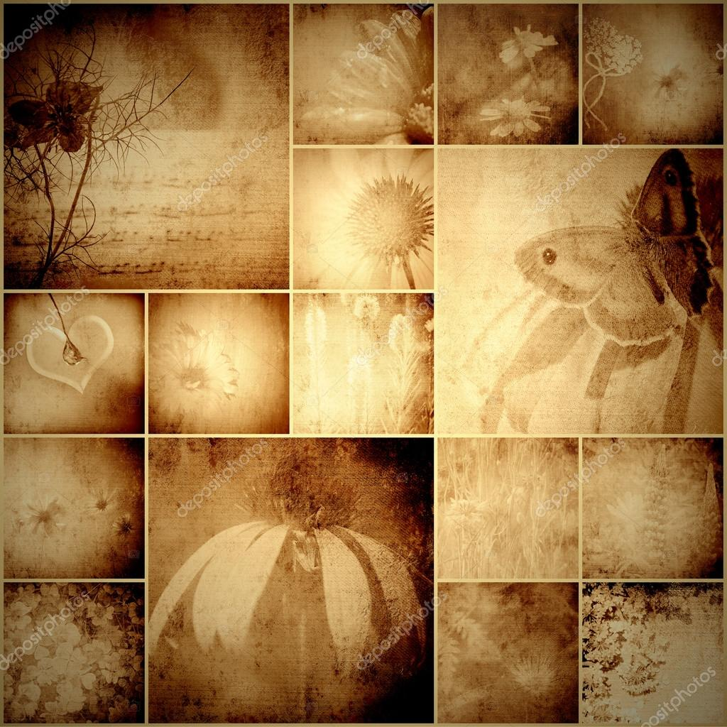 vintage collage flowers and butterfly