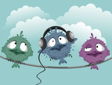 Three funny birds on a wire