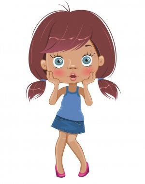 Surprised cartoon girl