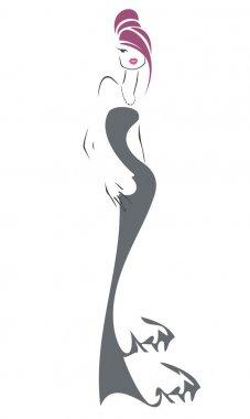 Sketch retro girl