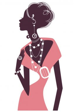 Retro girl in pink evening dress