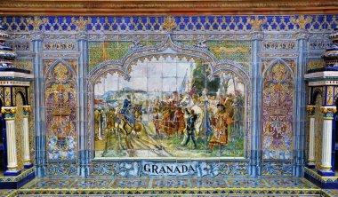Famous ceramic decoration in Plaza de Espana, Sevilla, Spain. Granada theme.