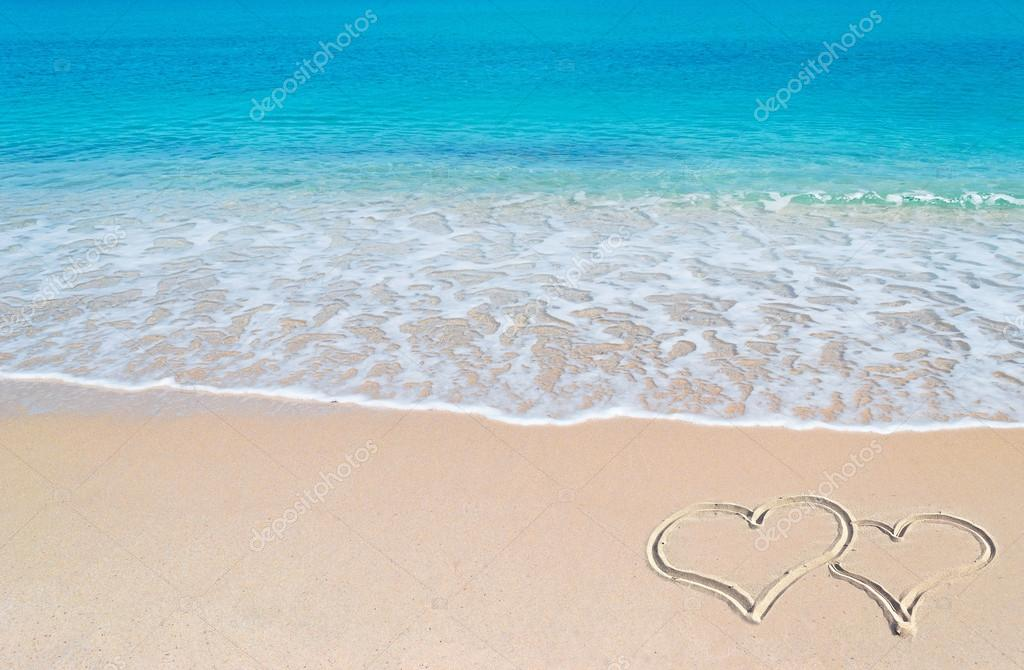 turquoise foreshore and hearts