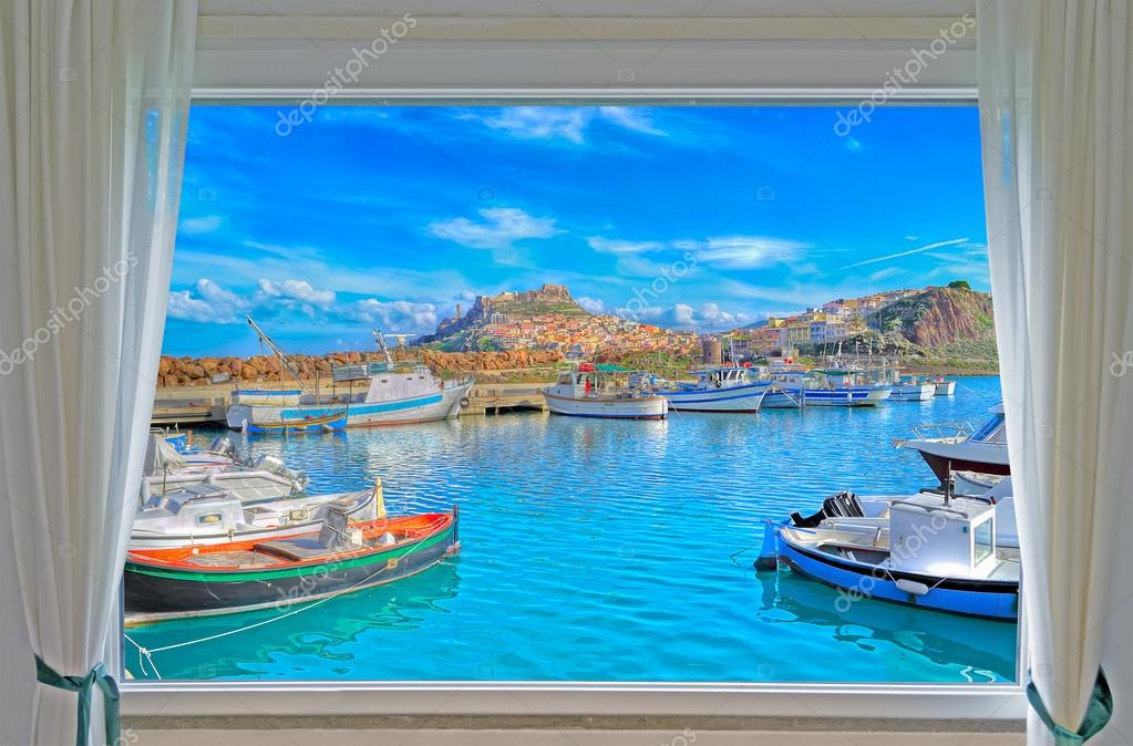 Castelsardo by the sea seen from a window