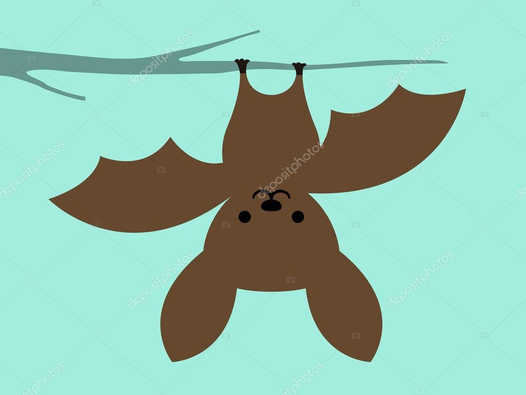 Piccolo pipistrello appeso a testa in giù — vettoriali