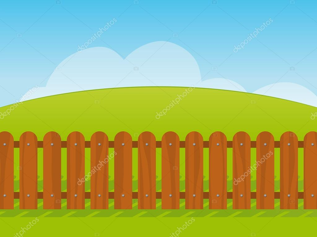 Cartoon Landscape With A Wooden Fence Stock Vector C A N 18103007