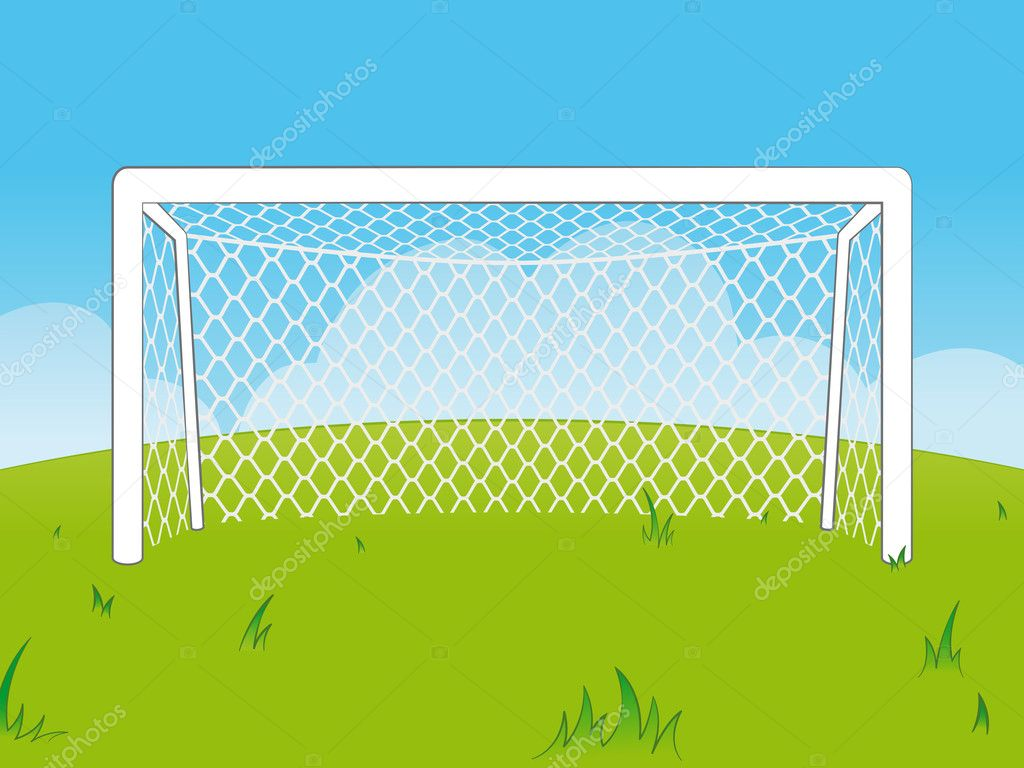 Cartoon goalposts with a net