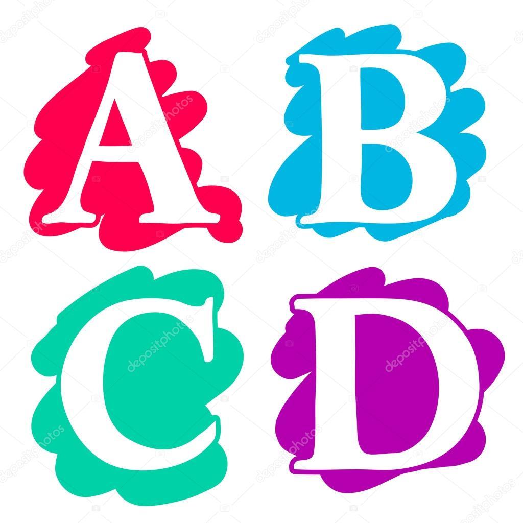 Alphabet to colour - Colour Doodle Splash Alphabet Letters A B C D In Uppercase With White Lettering Each On A Different Single Colour Splash Background