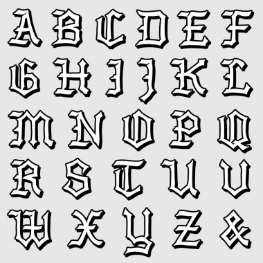 Doodle vector of a complete Gothic alphabet