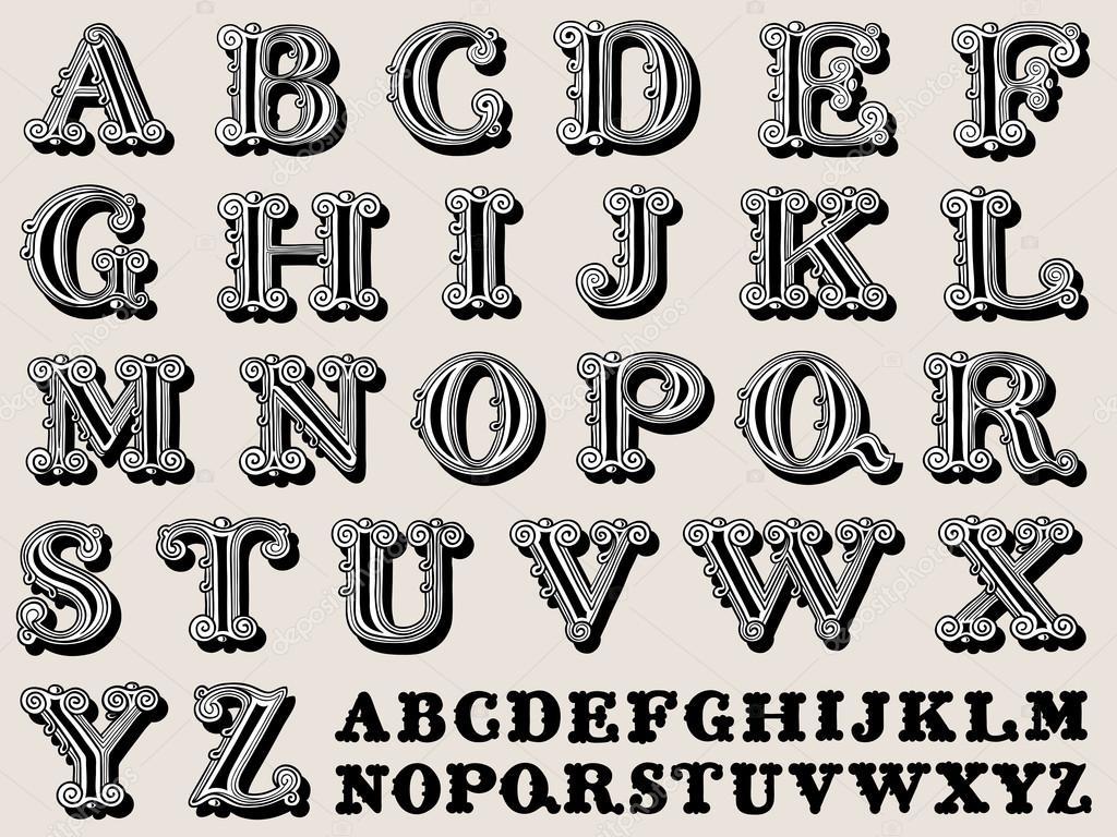 Retro illustration of a complete antiqua alphabet