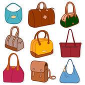 nejnovější módní kabelky a peněženky, na bílém pozadí