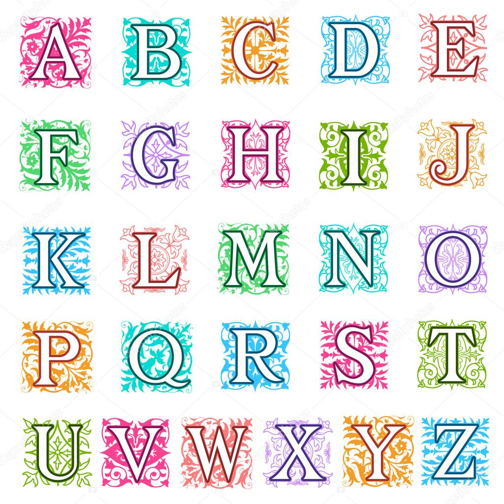 Fabuloso folatos y fijar las letras del alfabeto floral — Vector de stock  CT75