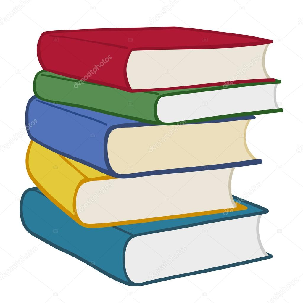 montón de coloridos libros de pasta dura — Vector de stock © a__n ...