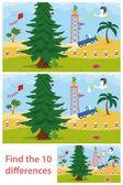 Kinder Rätsel von einem Wüstenbaum Unterschied
