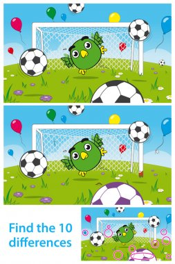 Kids puzzle with cute bird goalkeeper