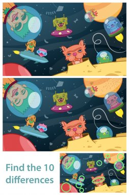 Extraterrestrial space kids puzzle differences