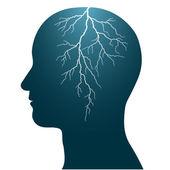 Lidská hlava s blesk uvnitř hlavy