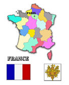 The map and the arms of France
