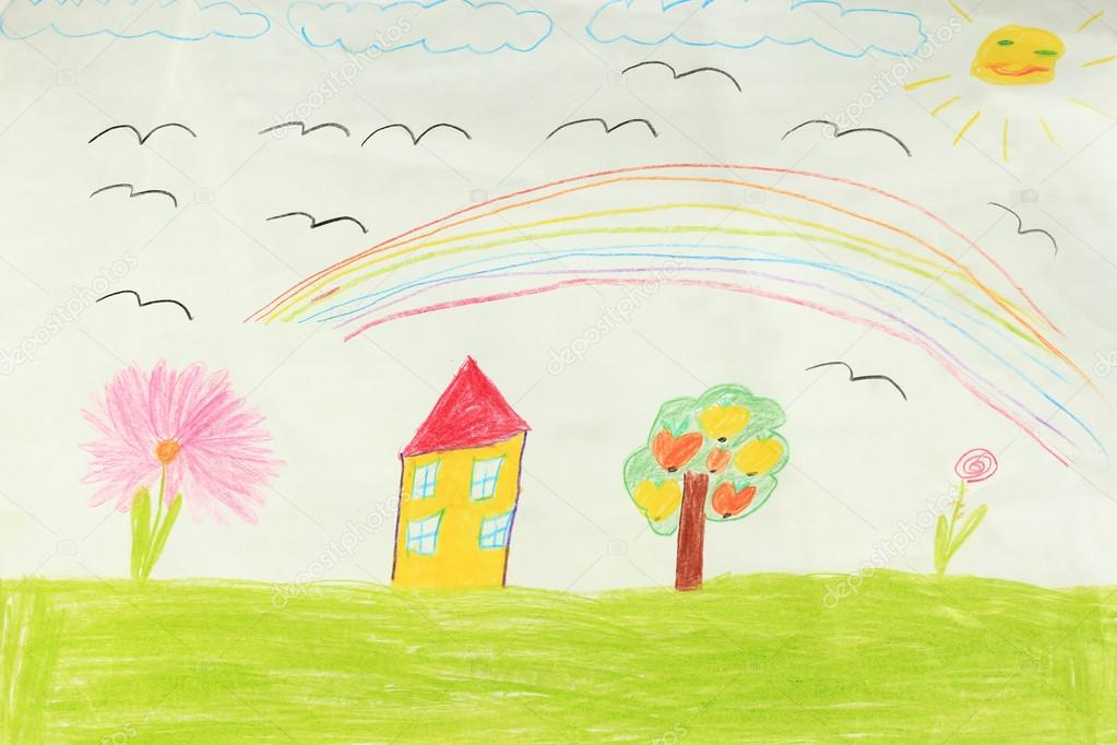 Children's drawing with house and flowers