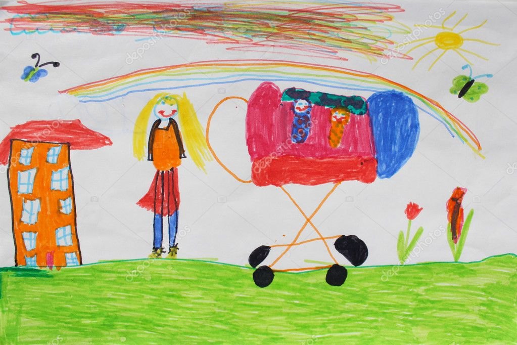 Children's drawing of mother with perambulator