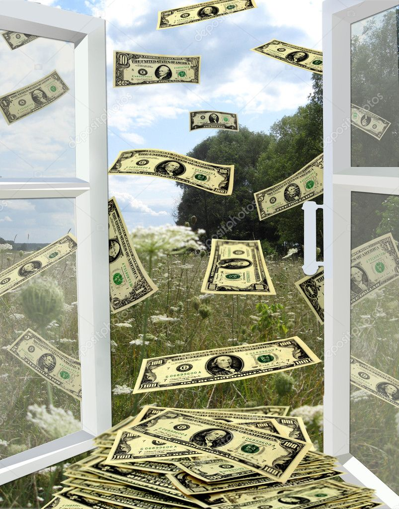 Dollars flying away from opened window