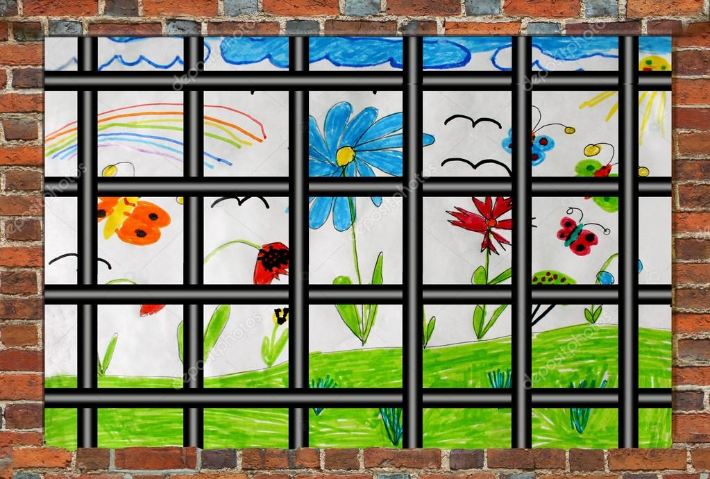 Prison's window with bars and children's drawing