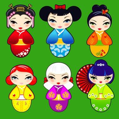 Set 2 of cute kokeshi dolls