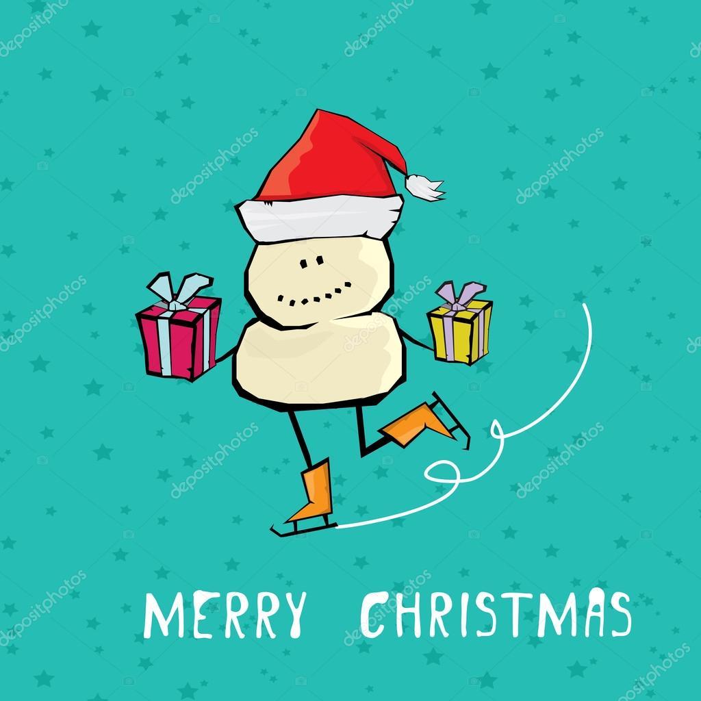 Comic Frohe Weihnachten.Vektor Comic Cartoon Frohe Weihnachten Abbildung Stockvektor