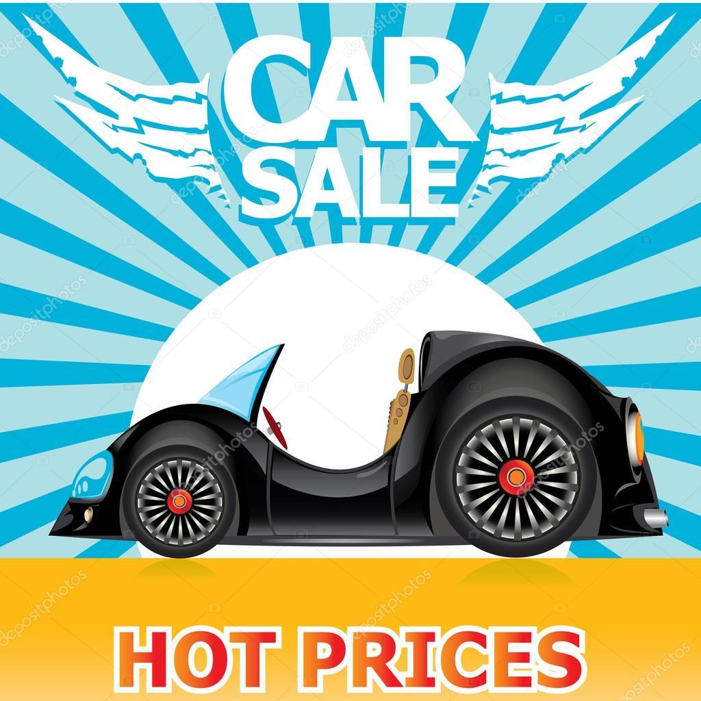 plantilla de diseño vectorial auto venta con coche — Vector de ...