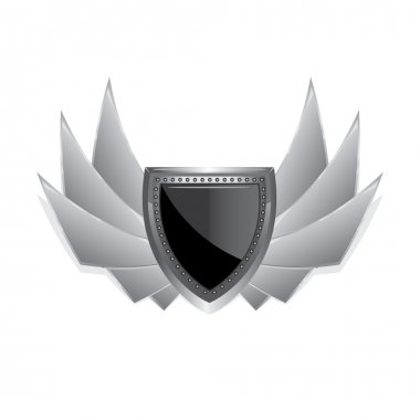 Vector metallic automotive badge on white.