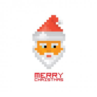 Christmas pixel style hipster greeting card.