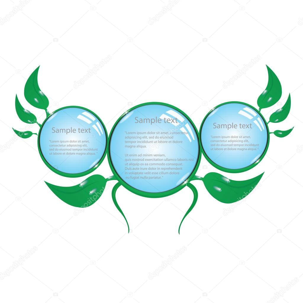 Floral eco green button. bio green vector concept