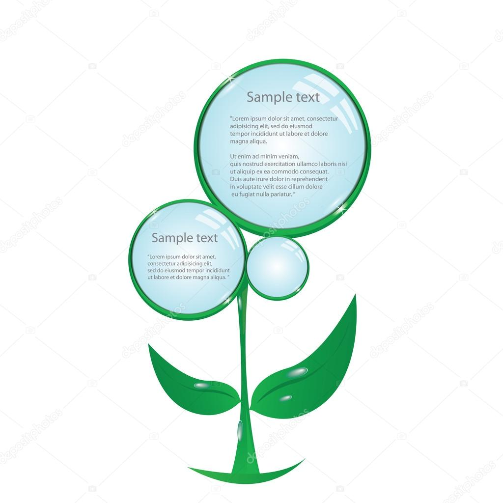 Floral eco green button. bio green vector concept