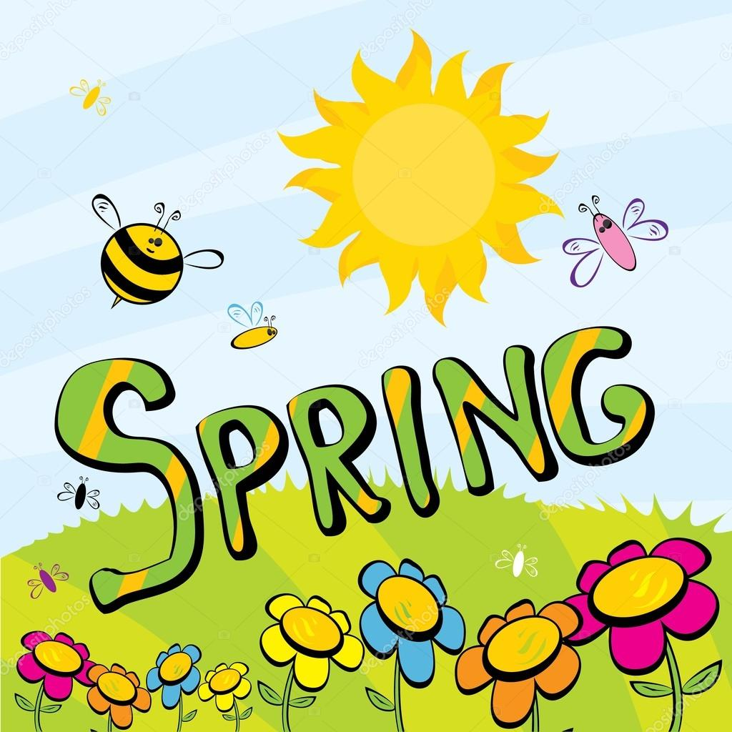 Spring word, flowers and butterfly vector.