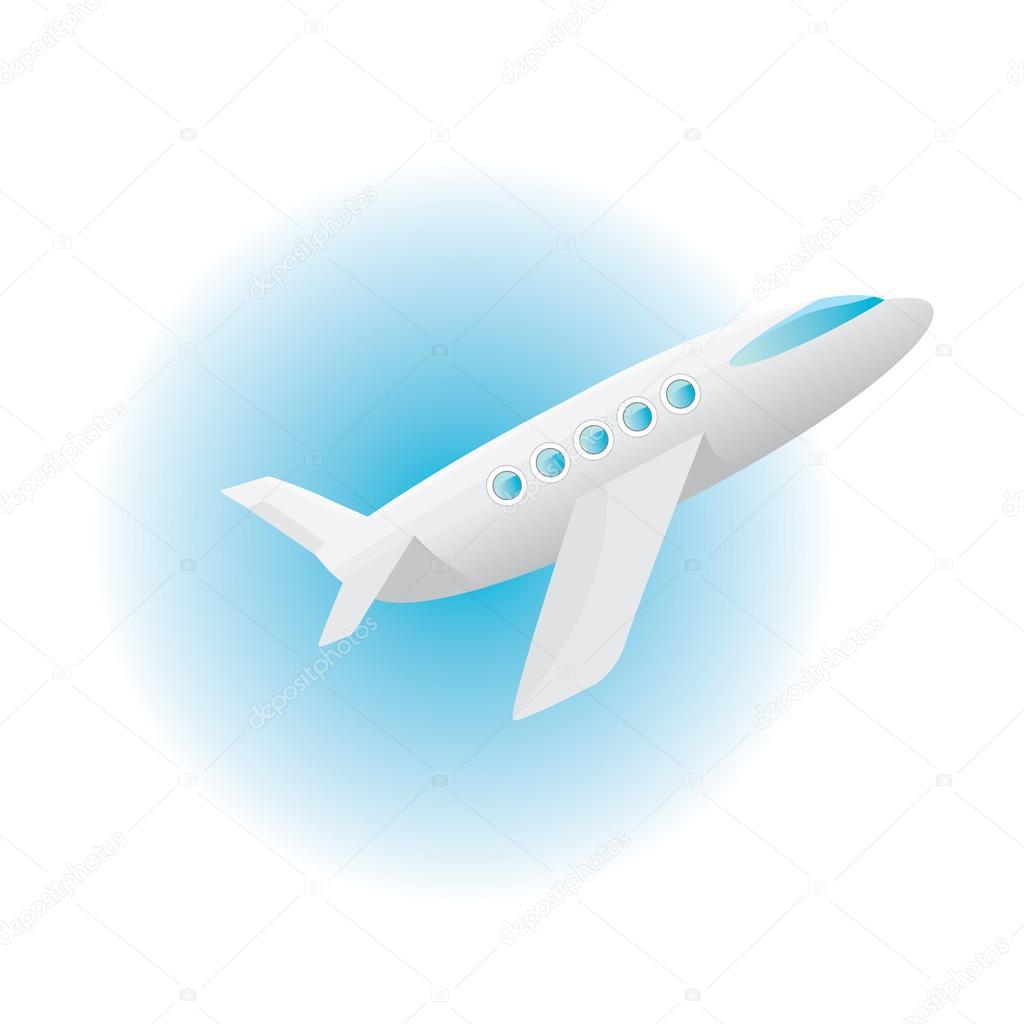 Icona di vettore aereo piano cartone animato nel cielo
