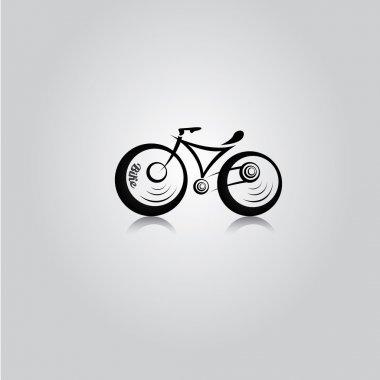 Vector black bicycles icon.