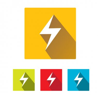 Flat lightning bolt vector icon set on square