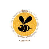 Fényképek vektor méh ikon a méz fésű háttér