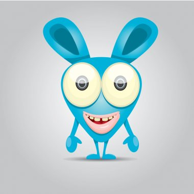 Vector Cartoon cute smiling monster
