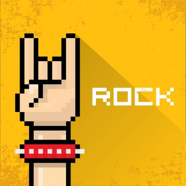 Vector flat pixel art hand sign rock n roll music on on stylish orange grunge background. rock n roll icon stock vector