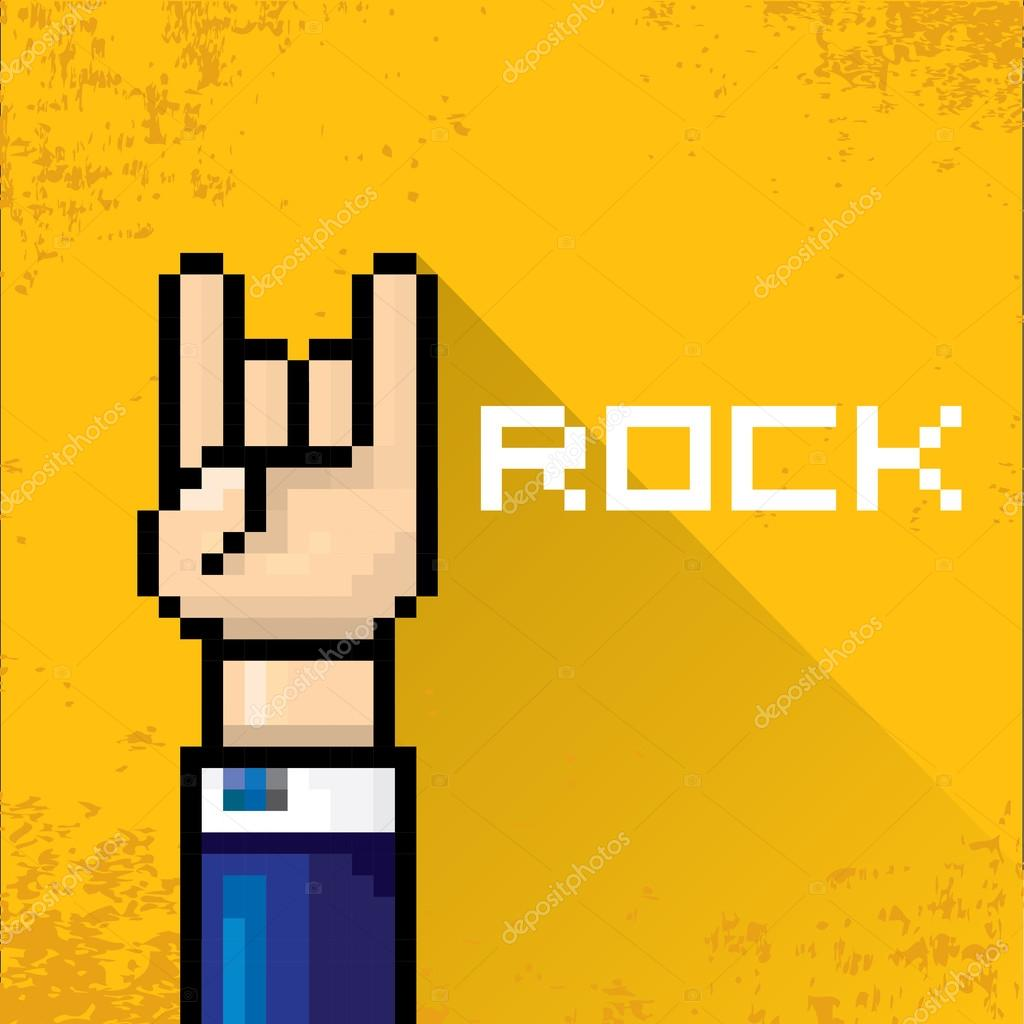 vector pixel art hand sign rock n roll music.