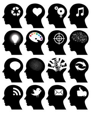 Set of 16 head icons with idea symbols
