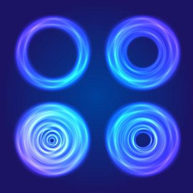 Set of blue glow circular shapes