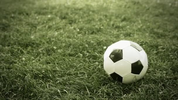 fotbalový míč na hřišti stadionu