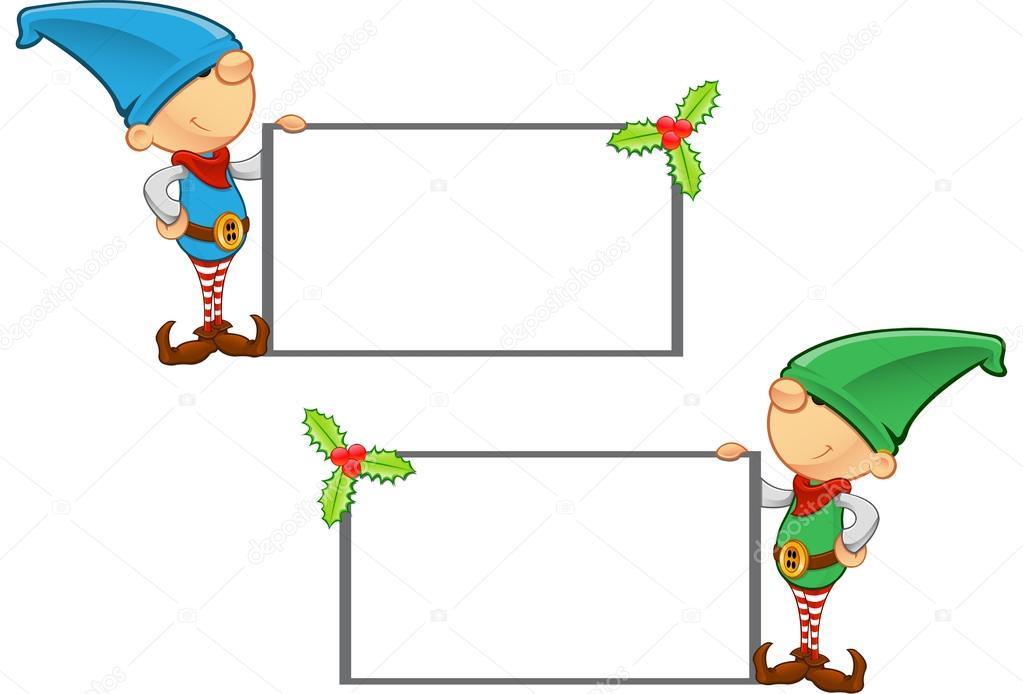 Elf Mascot - Holding a Blank Board