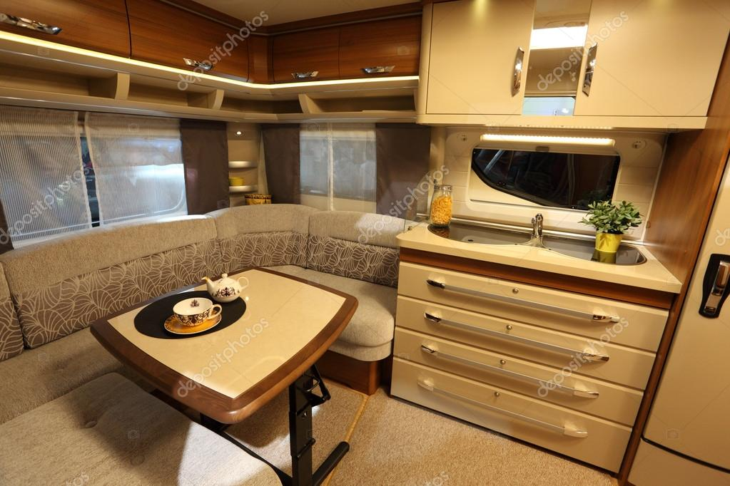 Interior Of A Modern Camper Van Stock Photo