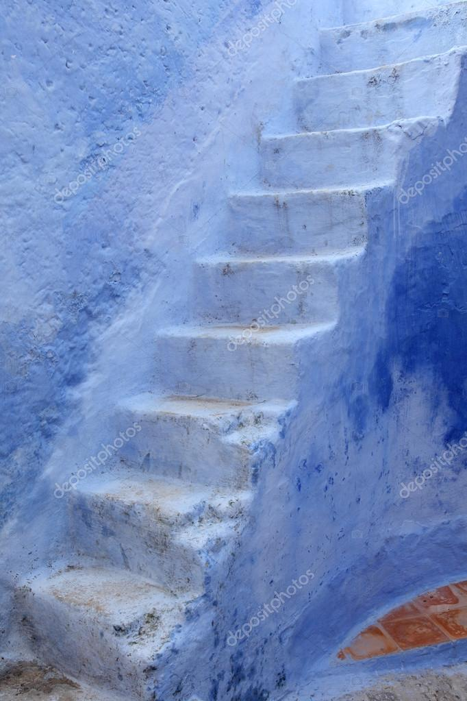 blue steps in the medina of chefchaouen morocco stock photo
