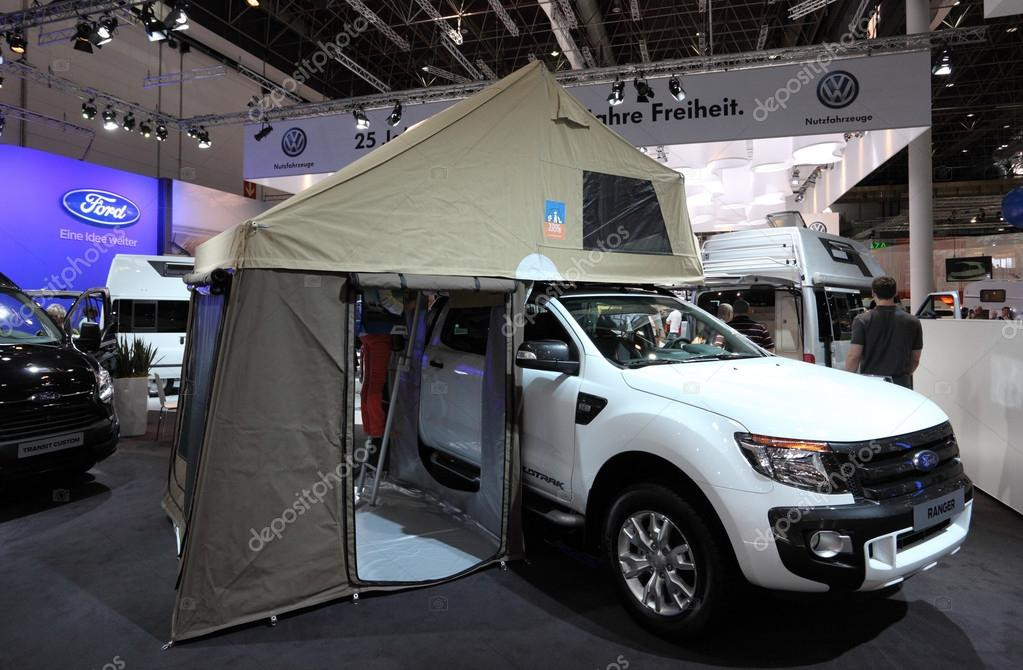 DUSSELDORF - SEPTEMBER 4 Ford Ranger truck with c&ing tent at the Caravan Salon Exhibition 2013 on September 04 2013 in Dusseldorf Germany. & DUSSELDORF - SEPTEMBER 4: Ford Ranger truck with camping tent at ...