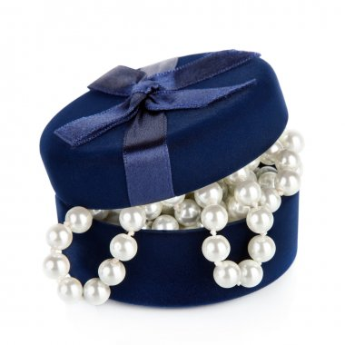 Pearl beads in the slightly opened casket isolated on white bac